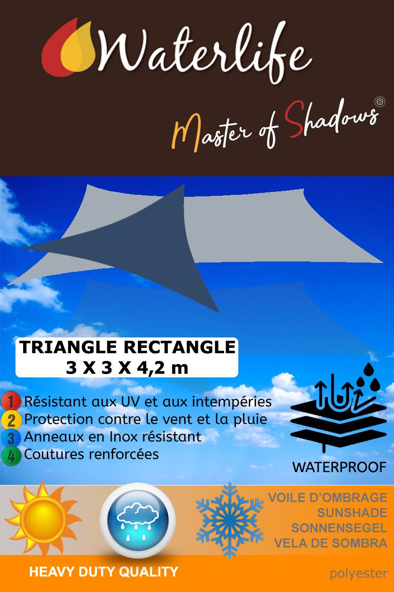 voile d'ombrage imperméable triangle rectangle